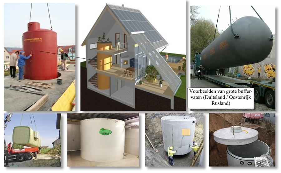 grote buffervaten voor warmtepomp installatie met houtketel