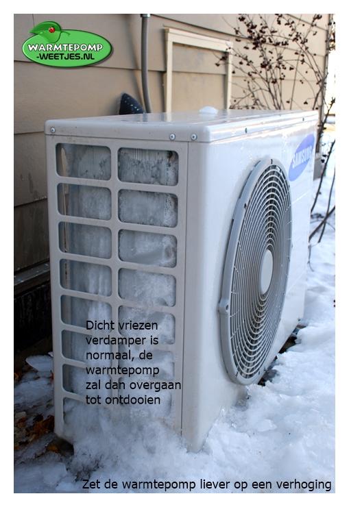 dicht vriezen buiten unit ontdooien lucht water warmtepomp
