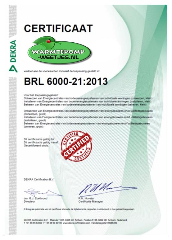 brl certificaat bodemenergie systemen